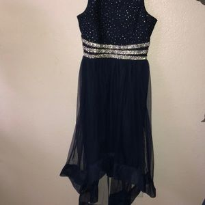 Glittery-blue homecoming/prom dress